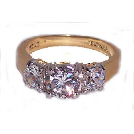 Three Stone Ring in Austrian Crystal Yellow Gold