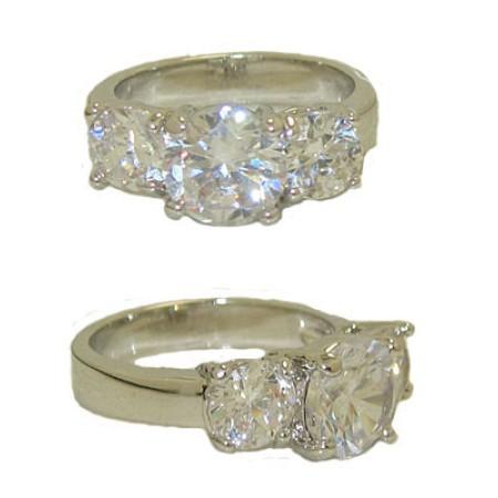 Three Stone Ring Austrian Crystal White Gold