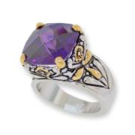 Designer Cable Jewelry Ring Amethyst
