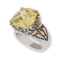 Designer Cable Jewelry Ring Citrine