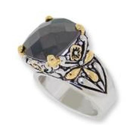 Designer Cable Jewelry Ring Jet Black