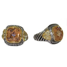 Designer Cable Ring Champagne Citrine Crystal