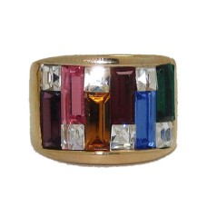 Rainbow Ring with wide band yellow gold