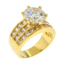 Gold CZ Ring Simulated Diamonds