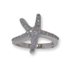 Pave Austrian Crystal Starfish Designer Ring