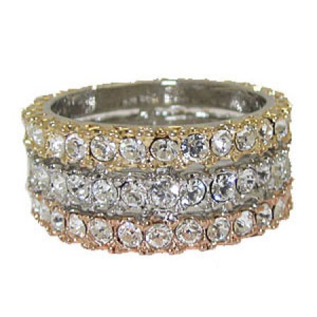 Three tone band, Silver, Rose Gold and Gold, white crystals ring