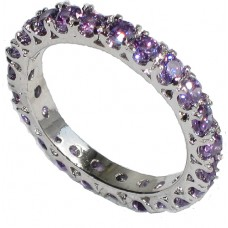 Crystal Eternity Band Ring Amethyst