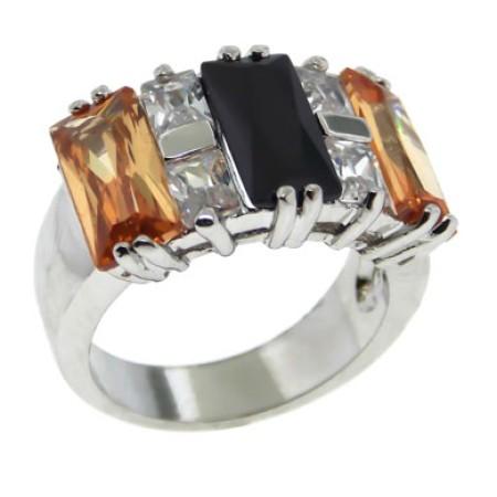 Austrian Crystal Designer Ring Jet, Champagne, White