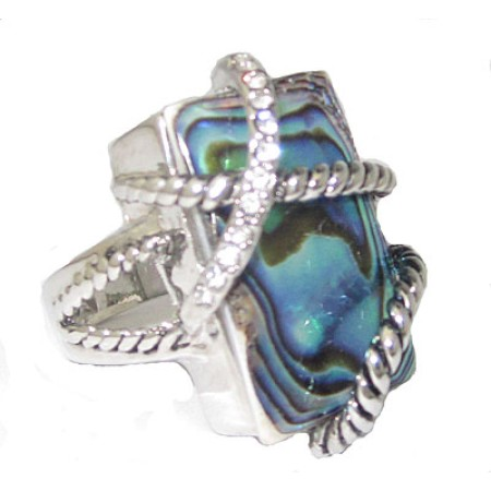 Abalone And Crystal Wholesale Ring