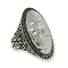 Two Tone Designer Hammered Oval wholesale ring
