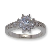 Flower ring in Rhodium and Cz