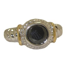 Designer Cable Ring 18 Kt Gold Jet Black