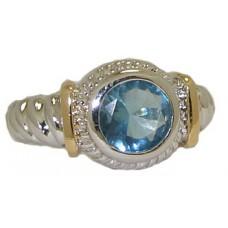 Designer Cable Ring 18 Kt Gold Blue Topaz
