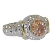 Designer Cable Ring 18 Kt Gold Champagne