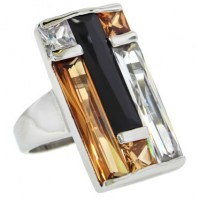 Window Pane Ring Color Block Jet, Champagne, White