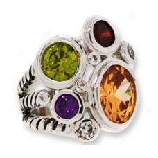 Multi Cz Designer Ring Austrian Crystal