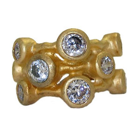 Clear White And Gold Designer 3 Row Ring