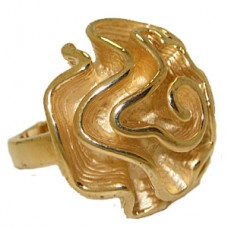 Designer Flower Ring Yellow Gold