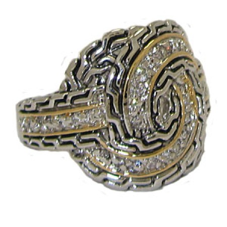 Two Tone CZ Designer Ring wholesale