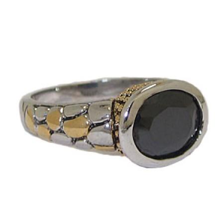 Two Tone CZ Designer Ring Austrian Crystal