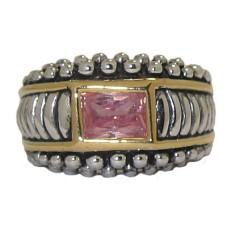 Antiqued Pink CZ Wholesale Ring 3 Tone