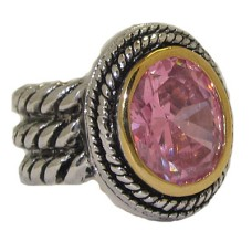 Double Cable Wholesale Ring Austrian Crystal Pink