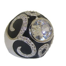 Black Enameled Dome Ring Austrian Crystal