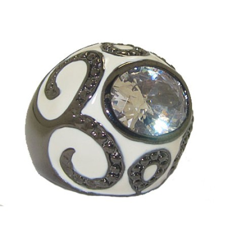 White Enameled Dome Ring Austrian Crystal
