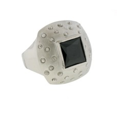 Mate Rhodium Jet Black Ring Austrian Crystal