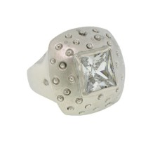 Mate Rhodium Ring in Clear White Austrian Crystal