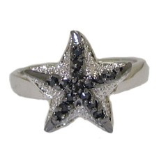Designer Star Fish Ring in Clear Jet Black