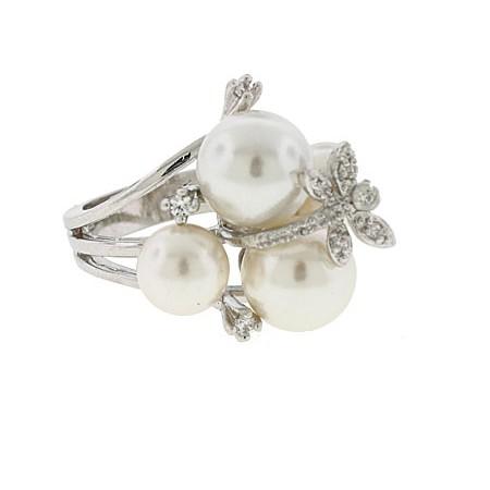 Cream Pearl Crystal Designer Wholesale Ring