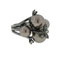 Gunmetal Pearl Crystal Designer Wholesale Ring