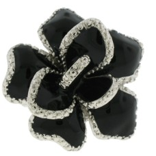 Silver Jet Black Epoxy Ring White Austrian Crystal Stone