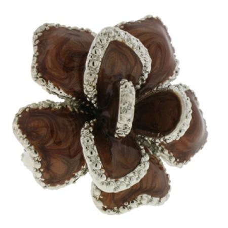 Silver Brown Epoxy Ring Austrian Crystal Stone