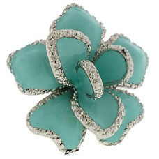 Silver Turquoise Epoxy Ring Austrian Crystal Stone