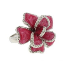 Silver Dark Pink Epoxy Ring White CZ Ring