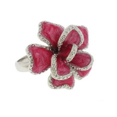Silver Dark Pink Epoxy Ring White CZ Ring