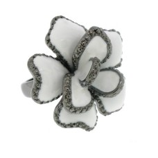 Gunmetal White Epoxy Ring White CZ Ring