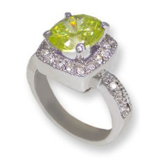 One tone silver, Peridot CZ & White crystals wholesale ring
