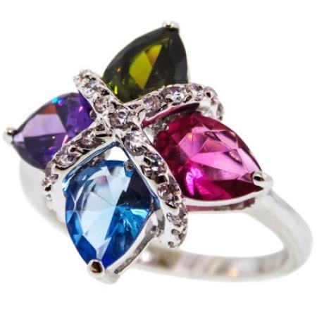 Unique Fancy Simulated Diamonds Ring in Multi