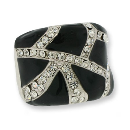 Silver Clear White Crystal And Black Epoxy Ring
