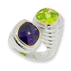 Amethyst and Peridot CZ ring