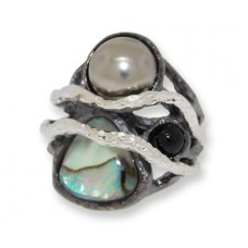 Two toned matt gun metal and silver Abalone shell and Grey Pearl ring