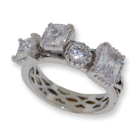 Antiqued silver tone Cubic Zirconia wholesale ring