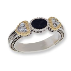 Two toned antiqued silver tone CZ Jet Black