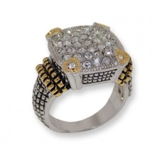 Two toned antiqued silver White Czech crystals ring