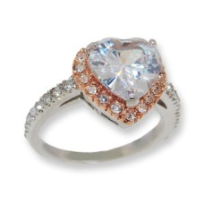 White center heart shaped CZ classic style ring