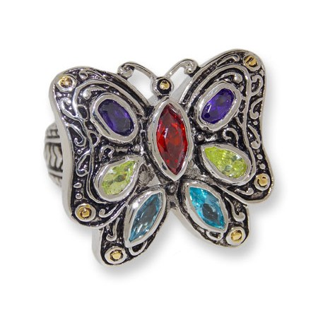 Antiqued silver and Dark Multi CZ wholesale butterfly ring