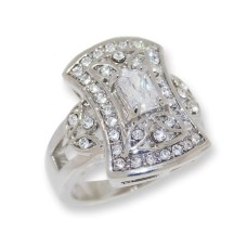 White CZ and White Czech crystals vintage look ring.
